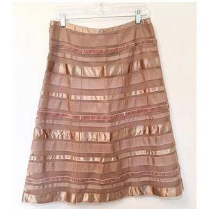CLUB MONACO Sz 6 Mocha A-Line Multi-Media Skirt